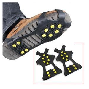 Гололед Цанги Cleat Более обувь 10 Сталь Шпильки Ice Бутсы резиновые сапоги Шипы против скольжения лыжи Gripper ледолазанию обувь DHC410