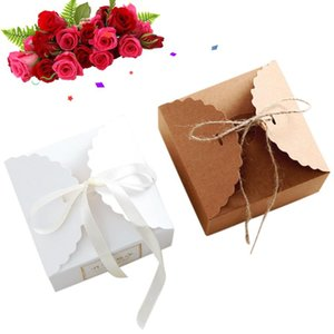 10pcs / lot Emballage cadeau Boîte Sac bonbons mariage personnalisé gâteau de cuisson Boîte de bricolage Conteneurs Organisateur blanc Stockage Décoration