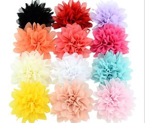 3,5 pulgadas de la flor de gasa sólido clip con Cips Hairclip bricolaje tocado pelo floral Barrette niños accesorios para el pelo de las horquillas 728