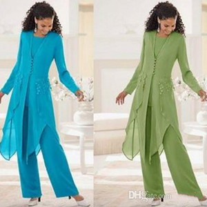 Uzun Kollu Ile zarif Şifon Jewel Boyun Ruffles Anne Gelin Pantolon Takım Elbise Anne Ceket ile Suits