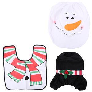 BMBY-3Pcs Set Christmas Decorations Bathroom Santa Claus Toilet Foot Pad Seat Cover Cap Set Toilet Rug Home Bathroom Accessory