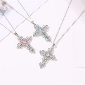 크로스 펜던트 목걸이 여성 남성 모조 다이아몬드 목걸이 도매 보석 긴 체인 크로스 목걸이