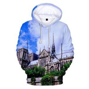 Hommes Hoodies Imprimé 3D Tops Notre Dame de Paris Hommes O-Neck desserrées Sweats Vêtements femme causales