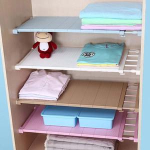 Ajustável organizador do armário armazenamento prateleira montado na parede DIY Roupeiro / Roupas / Titulares armazenamento de cozinha Racks camada de plástico / Divisores