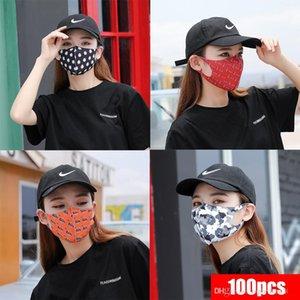Свободный Корабль! Защитная ледяная шелковая хлопчатобумажная Маска Mascherine Camouflage Strawberry Print Anti Dust/PM2.5 Breathable Mouth Designer Face Masks