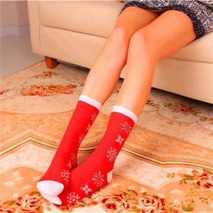 Linda de la historieta Nueva Elk Santa Claus transpirable Hombres Mujeres y duración medias personalizada mitad de la pantorrilla regalos de Navidad calcetines para DHE173