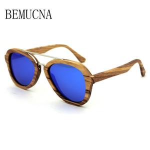 Luxus-BEMUCNA 2018 die neue Sonnenbrille Herren stilvolle Bambus-Holz Brille Metall Nase Holz Sonnenbrille Polarisatoren 0036 100% handgefertigt