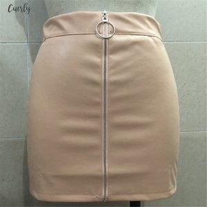 Women New Autumn Winter Tight Suede Skirt Fashion High Waist Zippers Front Autumn Pockets Mini Pencil Skirt For Women