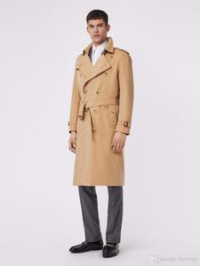 Longo casaco trincheira dos homens trespassado cor sólida blusão cinto Magro trench coat à prova d 'água casaco Britânico clássico trench coats L