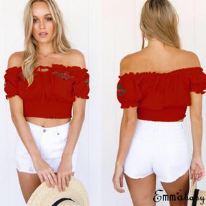 Moda Donna Floral maglietta Nuova estate casuale fuori dalla spalla ricamo del fiore Short Top Lace-up T-shirt