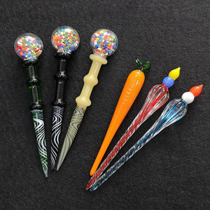 3 Stile Cera Dab strumento di vetro colorato Dabber Cera Olio strumento di Dab Stick Carving Strumenti Nail Per tubo Bong spedizione gratuita