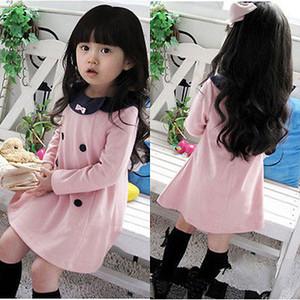 2015 neue Baby-Kind-Mädchen bowknot Langarm-Herbst-Winter Kleid Partei Prinzessin kleidet Kleidung des Kindes