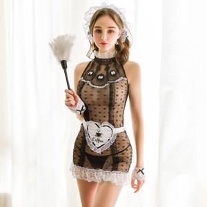 abito gonna prospettiva pizzo stile sexy di trasporto della biancheria retrò palazzo notte domestica 2020 uniforme sexy