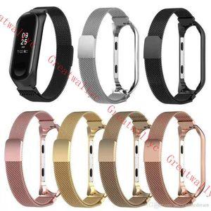 Bracelete magnético milanês para xiao mi mi band 4 pulseira de relógio de aço inoxidável para xiaomi pulseira de substituição pulseira de metal miband 3
