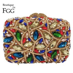 Boutique De FG Multicoloured Hollow Out Women Crystal Clutch Evening Bags Wedding Rhinestone Handbags Bridal Diamond Purses Bag