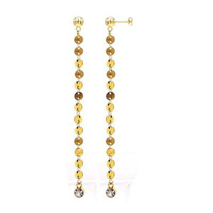 New Desgin Fashion Gold Silver Color Coin Earring Stainless Steel Crystal Long Round Sequins Earrings For Women Tassel Drop Earrings Jewelry