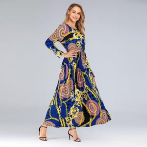 Vintage Muslim Abaya Dress Women Slim Fit Long Sleeve Maxi Hijab Dresses Islamic Clothing Big Swing A-line Vestidos Dubai Kimono