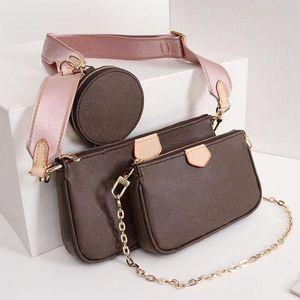 المفضلة متعدد Pochette فاخر مصمم حقيبة يد محفظة جلدية حقيقية L زهرة العلامة التجارية الكتف CROSSBODY حقيبة السيدات المحافظ 3 قطع مساء حقيبة