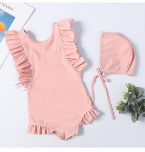 2019 costumi da bagno per bambini con cappellini kid bikini ruffle costume da bagno delle ragazze vestiti coreano Cute Beach Wear costumi da bagno One-Pieces