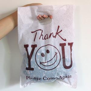 """100pcs 25 * 35 centímetros """"obrigado"""" Design Café presente Plastic Bag roupa de luxo Embalagem Sacos Big plástico com sacos de compra SH190920 Handle"""
