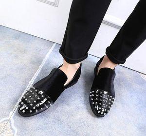 Hot Sale-2019 chaussures mode casual rivet hommes britanniques 37-48 chaussures hommes styliste beau noir surdimensionné # 533941