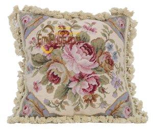 창 좌석 쿠션 수제 양탄자 소파 등받이 베개 모직 woolenen 바느질 수제 매듭 그리고 버드는 베개를-상승