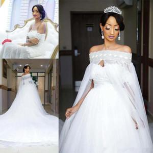 Изящные белые Русалка Свадебные платья с Съемные Юбка Wrap плеча Backless Часовня Сад Страна Африканском Свадебные платья 2019