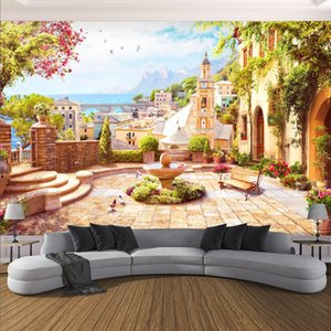 Custom 3D Wall Mural European Style Garden Town Seascape Photo Wallpaper Living Room Restaurant Waterproof Canvas Wall Painting