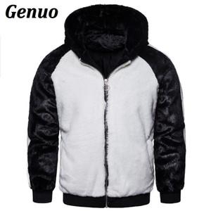 Genuo Winter-Männer Patchwork-Pelz-Parka-Mantel Männer-Farben-Block mit Kapuze Pelz-Mäntel Overcoat Warm Faux-Jacke