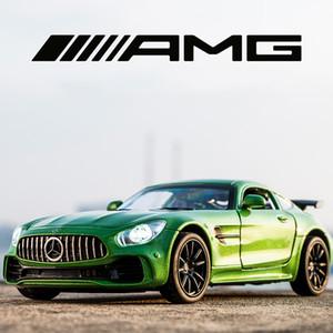 BENZ aleación AMG GT GTR pull back Diecast modelo de coche con luz sonido juguetes MINIAUTO automóviles de juguete para los ni 01:32 Deportes Coches Y200109