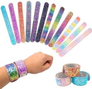 Mädchen Meerjungfrau Glitter Armband Mode Kinder Glänzende Armband Kinder Junge Slap Snap Armband Weihnachtsgeschenk Parteibevorzugung T372