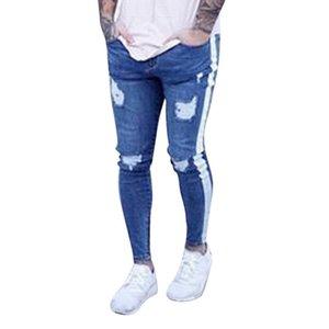 Oeak Jeans para hombre 2019 New Sexy Ripped Hole Stretch Denim Pantalones Hombre Recto Casual Stripe Streetwear pantalones lápiz MX190718 MX190718