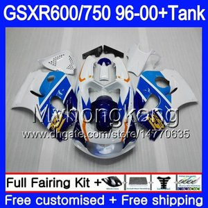 Vücudun cowling sıcak beyaz + Tank SUZUKI SRAD Için GSXR 750 600 1996 1997 1998 1999 2000 291HM.73