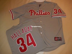 Cheap baseball PP #34 ROY HALLADAY SEWN shirt Jersey GRAY New Mens stitched jerseys Big And Tall SIZE XS-6XL For sale