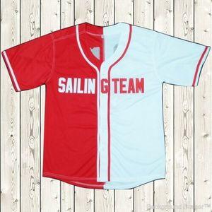 Lil yachty # 44 Sailing Team Baseball Jersey Stiched Lil Boot Ikon Rot Weiß NWT Trikots schnell Verschiffen-Tropfen