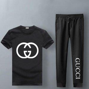 GUCCI Homens Verão Esporte Treino Impresso Magro Arrefecer mangas curtas T-shirt Com Joggers terno de calças Casual
