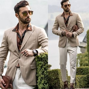 2020 Handsome Mens Suit Custom Made Beach Wedding Suits Casual Stripe Top Quality Dress Tuxedos Jacket+Pants Groomsmen Slim Fit Suits