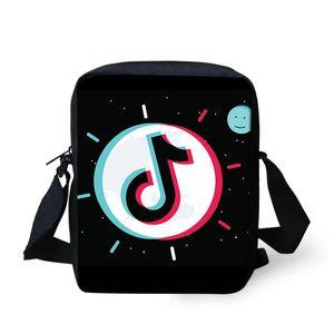 Designer-Mulheres Messenger Bags meninas 3D Tik Tok Music Note Children Impressão Mini Shoulder Bag Mulheres GO Bolsa de Mujer Drop Shipping