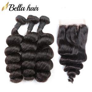 Cierre cordón del pelo brasileño con lotes de Remy de la trama del cabello humano con cierre onda floja 3pc + 1pc de colores naturales de 8-26 pulgadas 8A Bellahair