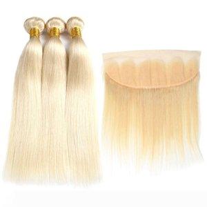 В 8а бразильского Виргинские волос #613 блондинка 3 расслоения с фронтальная закрытие топ кружева лобной и пучки шелк прямые волосы пучки и Фронта