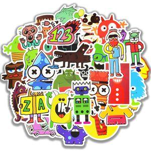 50 PCS Waterproof Doodle Stickers Funny Little Monster Robot Decal Sticker Gift Toys for Children DIY Laptop Fridge Suitcase Skateboard Car