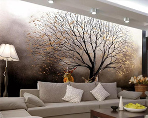 Drop Shipping Custom Wallpaper Mural European Golden Tree Sika Deer Oil Painting Background Wall Papers Home Decor 3d Wallpaper