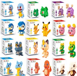 Bolsillo MonsterKoffing Psyduck Poliwhirl Meowth Mudkip Piplup diamante Mini Toy Building Blocks Juguetes para niños Anime Figuras