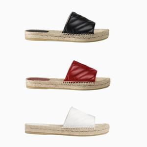 Femmes Designer En Cuir Espadrille Sandale De Luxe Pantoufle Plate-forme Plate-Forme Chaussures Avec Le Double Métal Plage Tisser Chaussures 4 Couleur Taille 4-10
