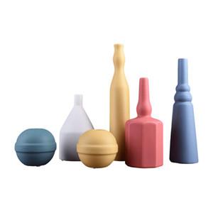 Morandi couleur céramique Vase Collection nordique Minimaliste Poterie Artisanat Salon Hôtel restaurant Table à manger Décoration