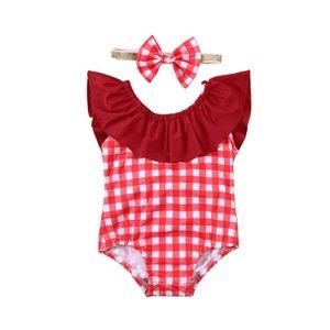 2020 Summer Toddler Baby Girl Swimwear Bikini Red Plaid Ruffle Sleeveless Beach Wear Princess Swimsuit Bathing Suit