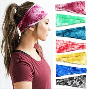 Tie Dye boho faixas largas algodão stretch Mulheres Meninas Headband Fascinator Acessórios de cabelo turbante Headwear Bandage Cabelo Bandana Headpiece
