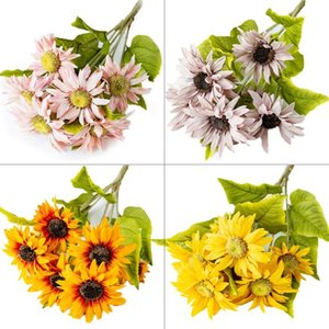 Autumn Decoration Yellow Sunflower Silk Artificial Flowers Bouquet For Home Decoration Office Party Garden Decor