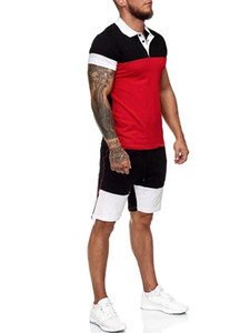 Conjuntos de malla transpirable tela para hombre 2 unidades solapa camisa + pantalones cortos traje deporte conjunto verano camiseta + pantalones cortos