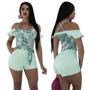 Green Leaf Imprimer Stripe Playsuit Femmes Sexy À Volants De L'épaule Bretelles Shorts Combinaison Casual D'été Barboteuse Bodys